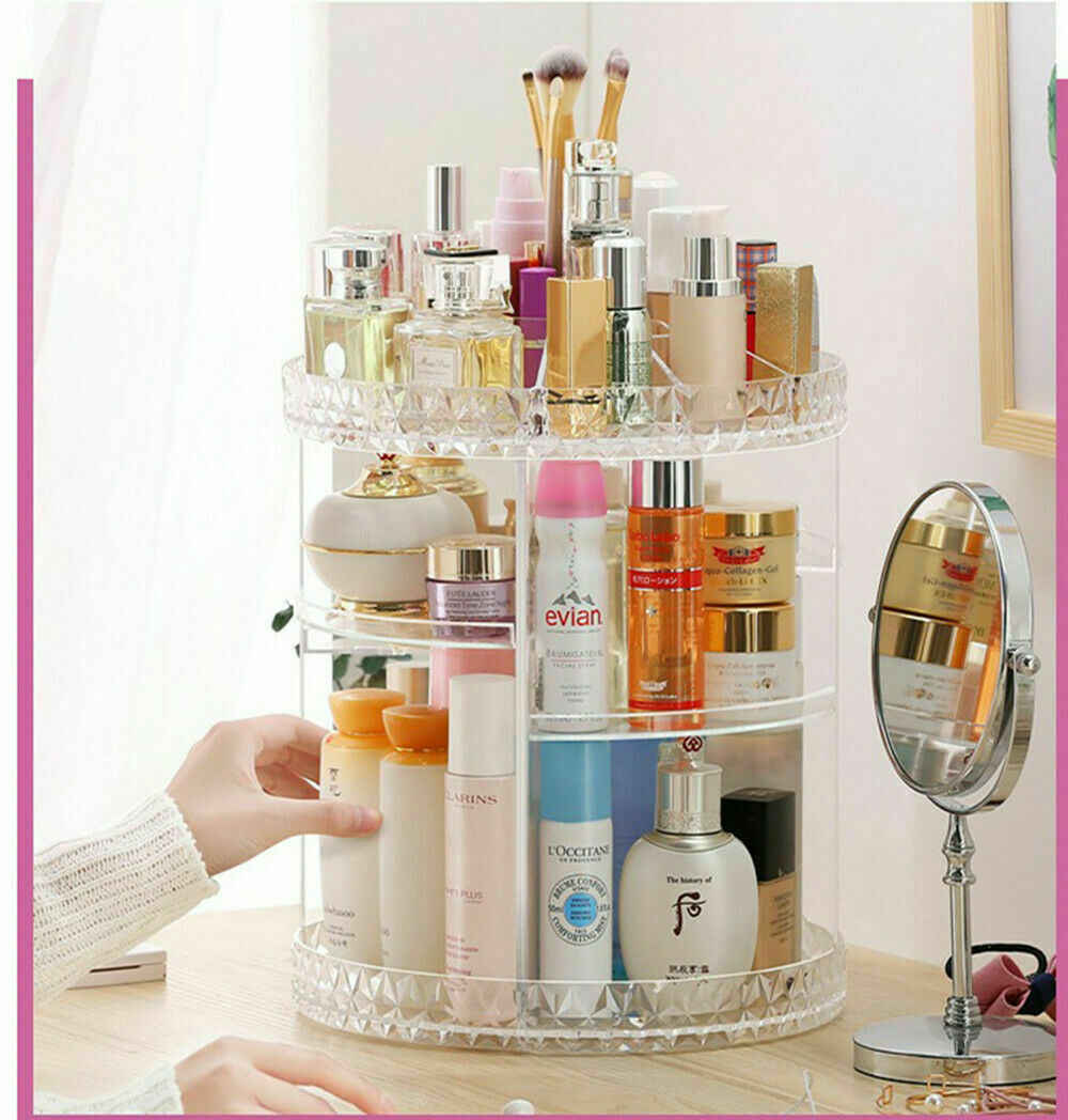 2019 Hot Sells Luxury Makeup Cosmetic Rack Holder 360 Degree Rotating Organizer Acrylic Case