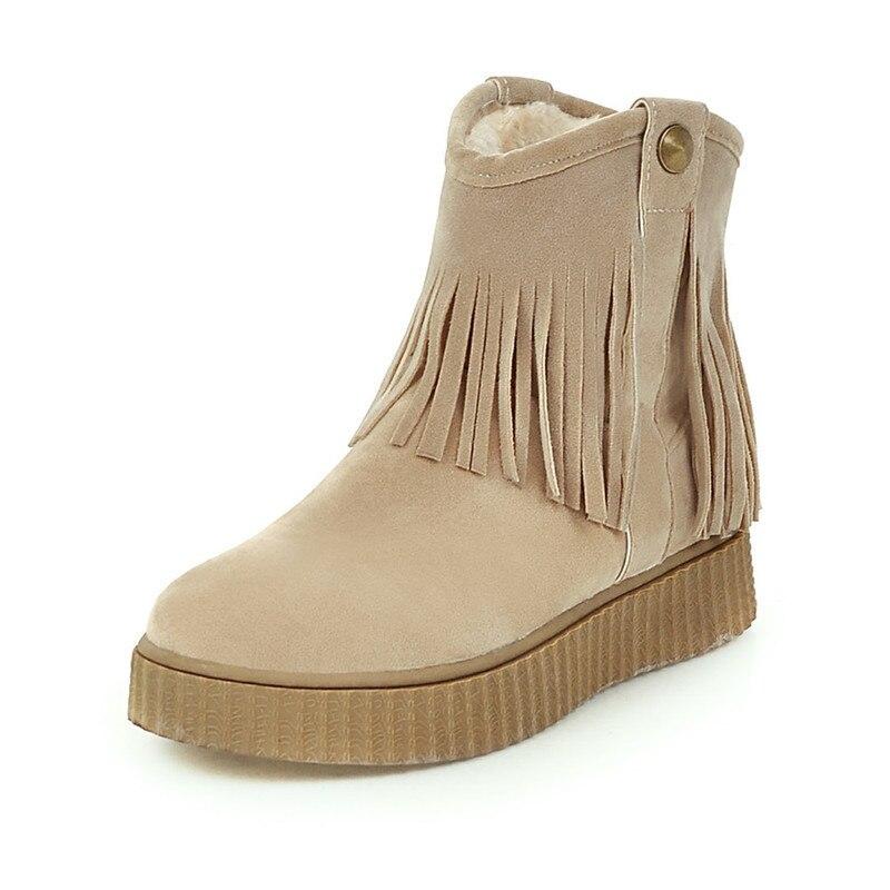 Beige Brown Black Large Size Solid Color Warm Fur Lining Winter Ankle Boots Non-slip Wear Flat Shoes Beige, Brown, Black