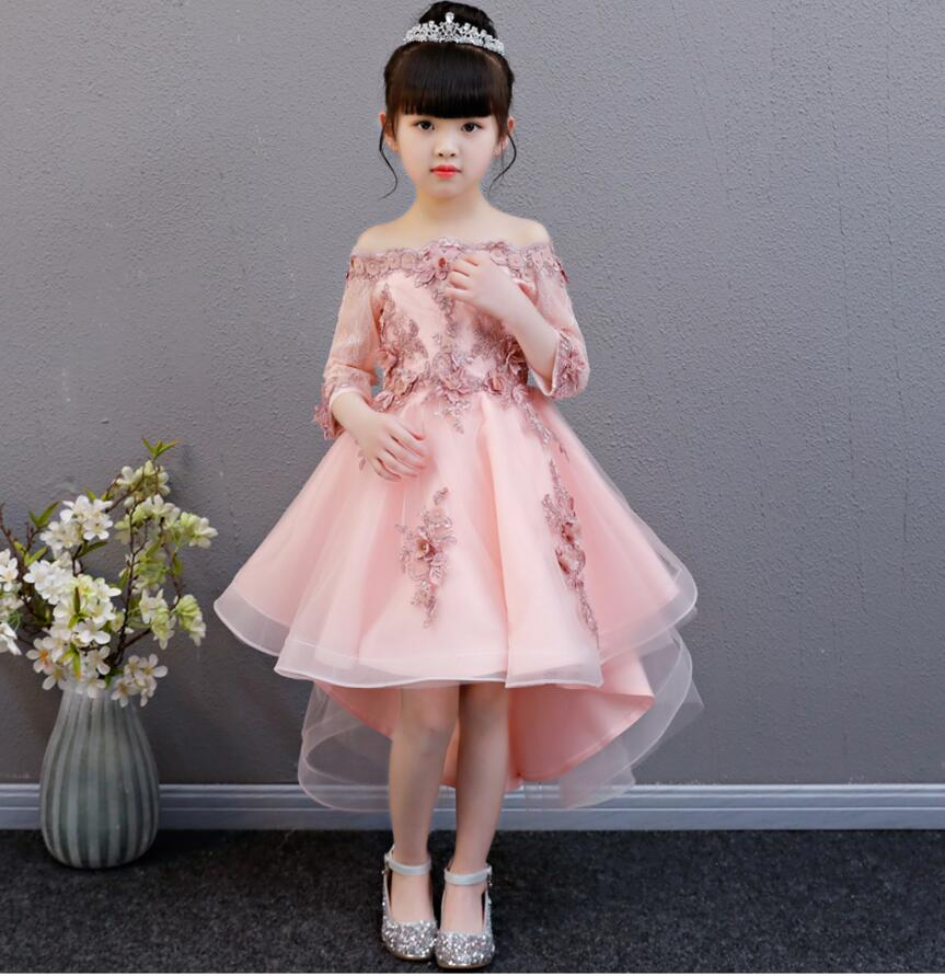 Elegant Pink Lace Girl Princess Dress Trailing Birthday Party Wedding Appliques Ball Gown Formal Girls First