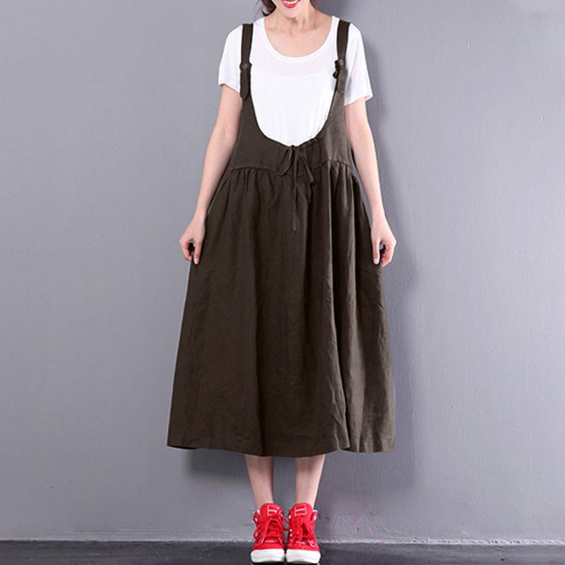 2018 ZANZEA Summer Women Spaghetti Strap Midi Suspense Dress Casual Backless Sleeveless Solid Baggy Dungarees Vestido Plus Size