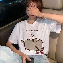 Pusheen Cat Cupid I love You Funny Kawaii Cute Cartoon Print T-Shirt