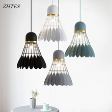 Nordic badminton chandelier simple restaurant bar bedroom creative single head wrought iron lamps