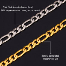 Trendy Necklaces High Quality 316L Stainless Steel 55cm/71cm Figaro Chains Necklaces & Pendants Men Jewelry N324