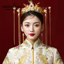 HIMSTORY Chinese Style Bridal Headwear Handmade Gold Alloy Phoenix Coronet Marry Wedding Hair Accessories Bride Hair Jewelry phoenix wedding hair jewelry chinese style handmade red crystal bridal jewelry animal headdress tassels hair accessories