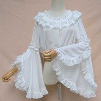 White Chiffon O neck Long Ruffle Sleeve Victorian Lolita Blouse Shirt Women Sexy Gothic Clothing (Matching Corset, Dress, Skirt)