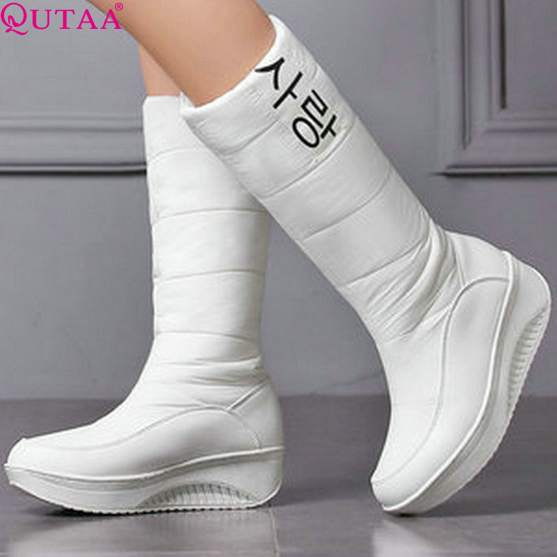 qutaa 2017 western white pu leather mid calf
