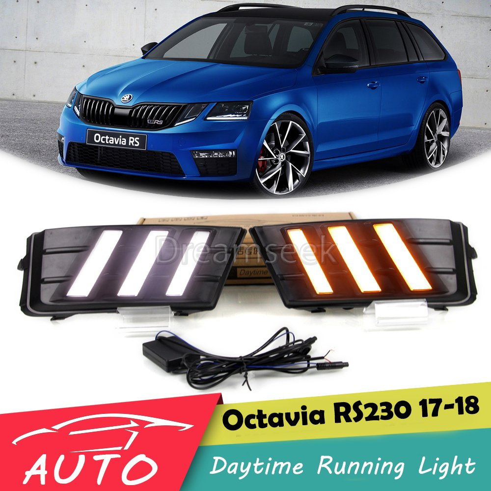 LED DRL For SKODA Octavia RS230 2017 2018 Daytime Running Light With Turn Signal Lamp