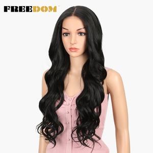 Image 2 - Pelucas sintéticas delanteras de encaje de separación libre 360 peluca Frontal de encaje pelucas rubias de cola de caballo de Color Ombre para mujeres negras pelo supremo