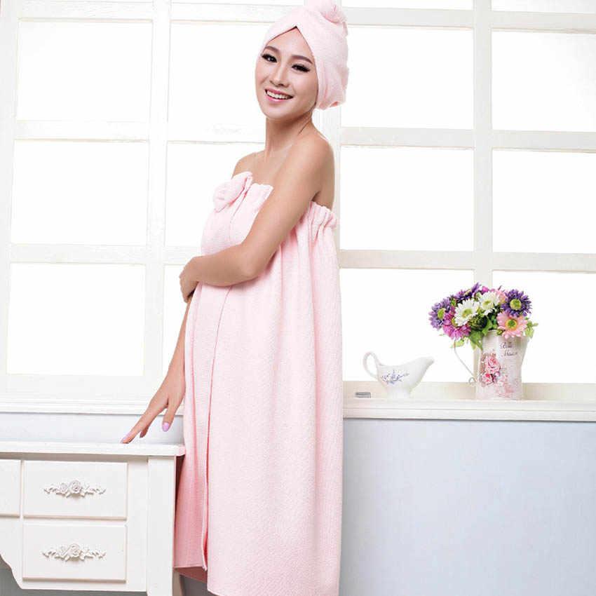 Ręczniki pod prysznic kobiety 145x75cm magiczna kąpiel z mikrofibry zwykły ręcznik spódnica suche włosy Cap Toalla Serviette De Plage