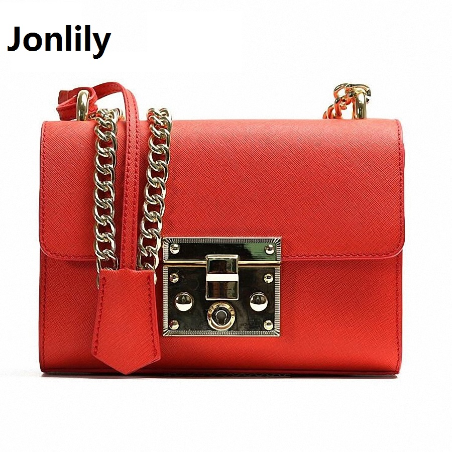Jonlily Genuine Leather Messenger Bag Famous Chain Women Shoulder Bag Summer Flap Women Clutch Bag Small Crossbody bag-SLI-289 vogue star summer bag famous brand women messenger bag pu leather women shoulder bag small mini flap bag bolsas lb14