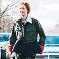 [ENCAI] Оливия Палермо Модная Одежда Европейский Впп Люксовый Бренд Дизайнер Лоскутная Баски Куртка Пальто с Меховой Манжеты