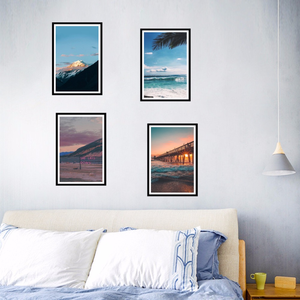Mountain River Landscape Pictorial Wall Stickers Home Decor Living Room Bedroom Decoration Accessories