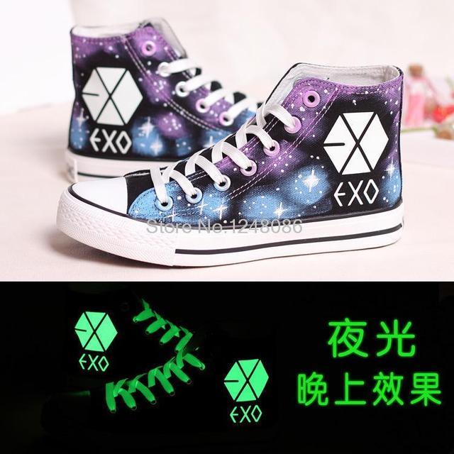 Luminoso fluorescente de alta-top zapatos zapatos EXO mismo párrafo estudiante de lona pintados a mano zapatos de las mujeres zapatos de los planos B1041
