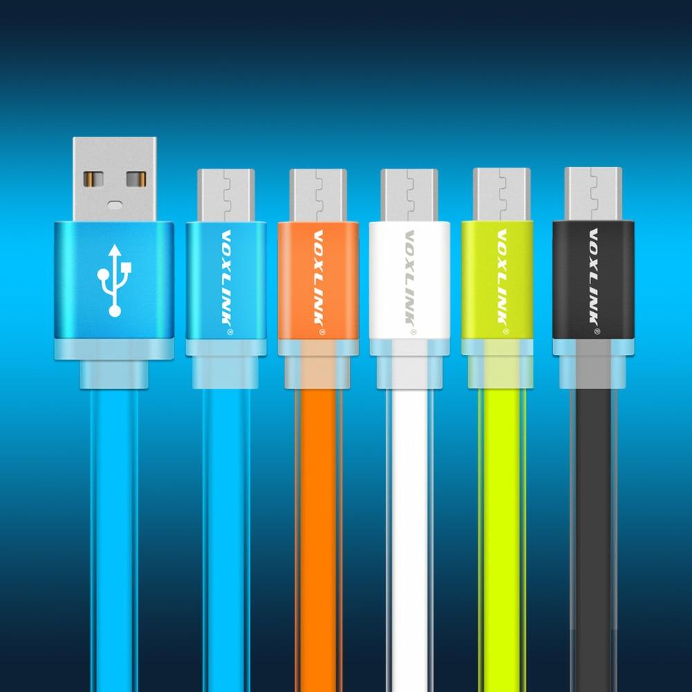 VOXLINK Flat Noodle Micro USB Cable 1m/2m/3m Fast Charging s