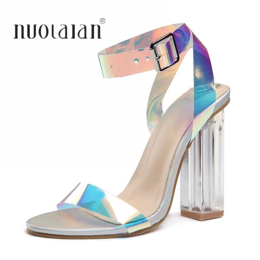 86710bef64 2019 Fashion PVC Women Sandals Summer Open Toed High Heels Women  Transparent Heel Sandals Woman Party Shoes Discount Pumps 11CM
