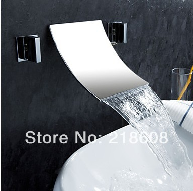 ФОТО Wall Mounted Bathroom Waterfall faucet Double Handle Water Tap
