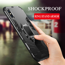 360 Full Armor Phone Case For iPhone XS MAX XR XS 8 7 Hard PC Silicone TPU Cover For iPhone 6 6S plus 5 5S SE Ring Stand Case