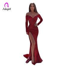 Adogirl с открытыми плечами платье макси с длинным рукавом глубокий v-образный вырез с высоким разрезом Полная длина вечерние элегантные женские красные вечерние платья с блестками