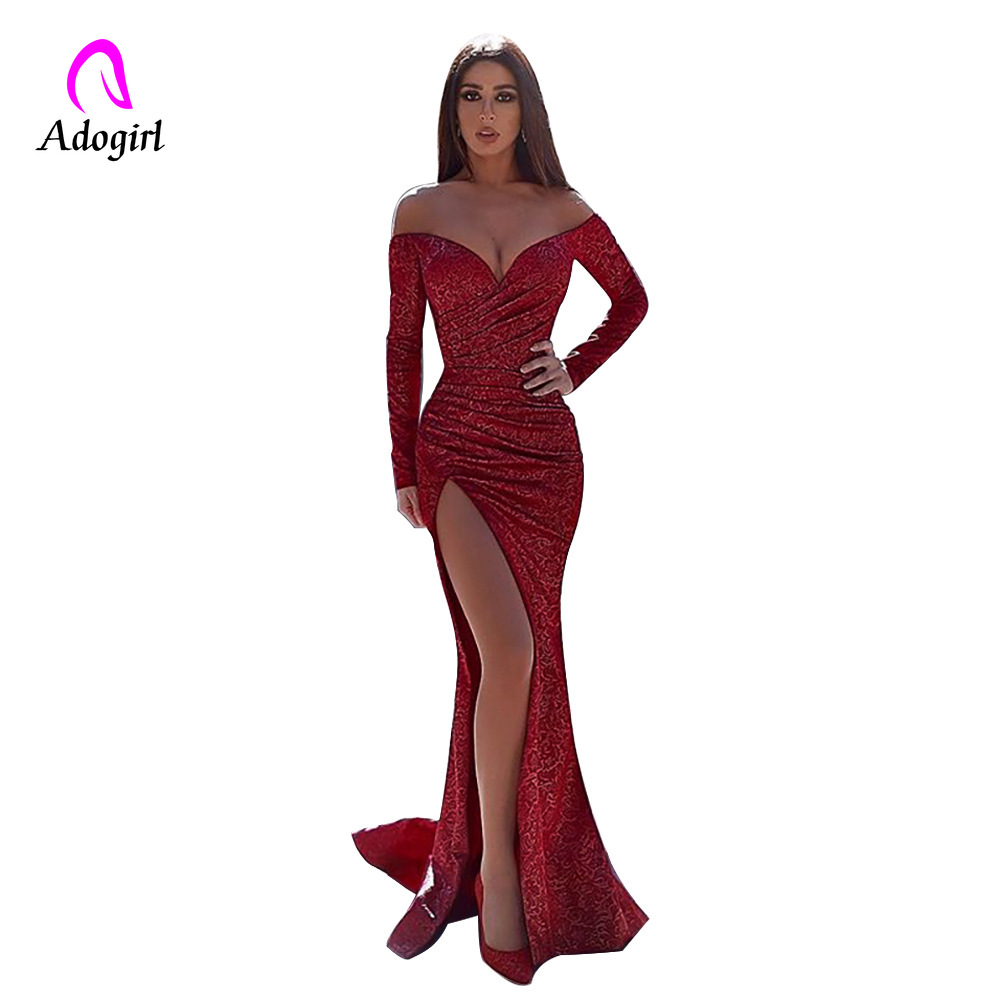Adogirl Off Shoulder Long Sleeve Maxi Dress Deep V Neck High Split Full Length Party Dress Elegant Women Red Sequin Evening Wear