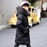 30Dgree Duck Down Children Winter Jacket Boy Winter Coat Kids Warm Thick Fur Collar Hooded long down Coats For Teenage 4Y 14Y