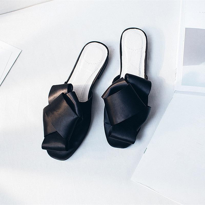MAVIRS Märke Kvinnor Mössor Tofflor 2018 Mode Satin Bow Flats - Damskor - Foto 3