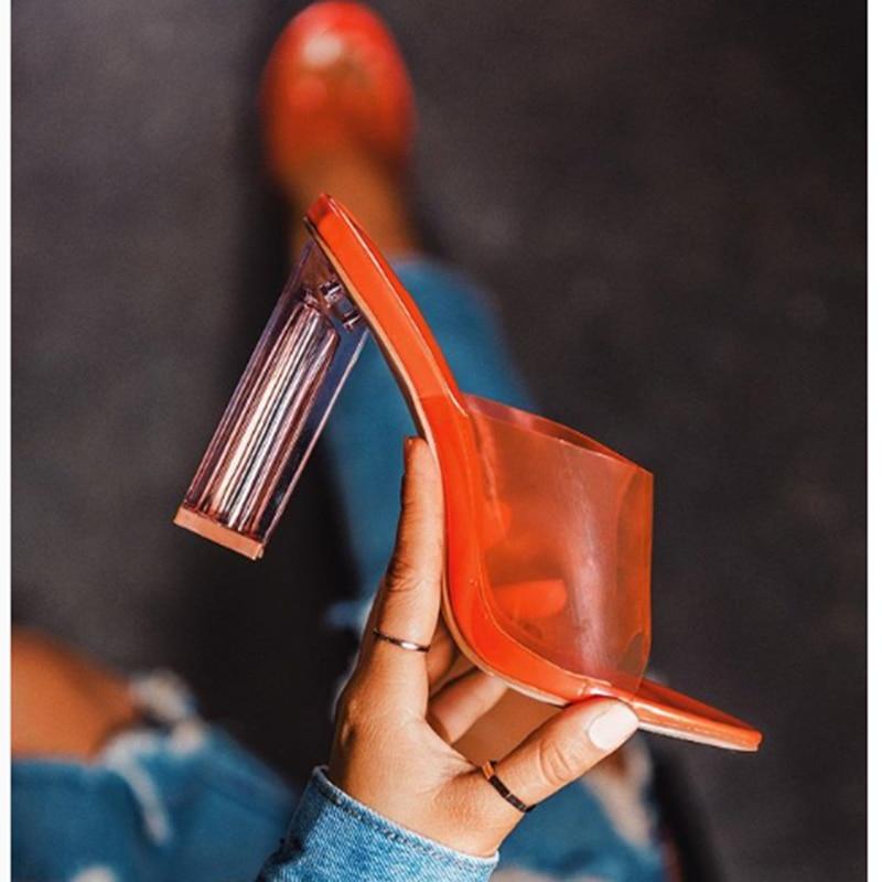 2019 Plus Size 35-42 Summer Women 11.5cm High Heels Slides Female Sexy Orange Lady Fetish Transparent Sandals Block Heels Shoes2019 Plus Size 35-42 Summer Women 11.5cm High Heels Slides Female Sexy Orange Lady Fetish Transparent Sandals Block Heels Shoes
