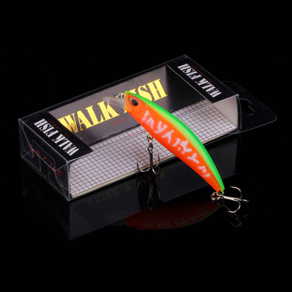 WALK FISH Minnow Fishing Lure 65mm 4.4g 3D Eyes Crankbait Wobblers Artificial Plastic Hard Bait peche Fishing Tackle