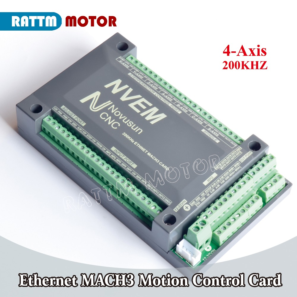 EU Delivery! 4-Axis Ethernet NVEM CNC Controller 200KHZ MACH3 Motion Control Card for Stepper Motor Servo motor New products