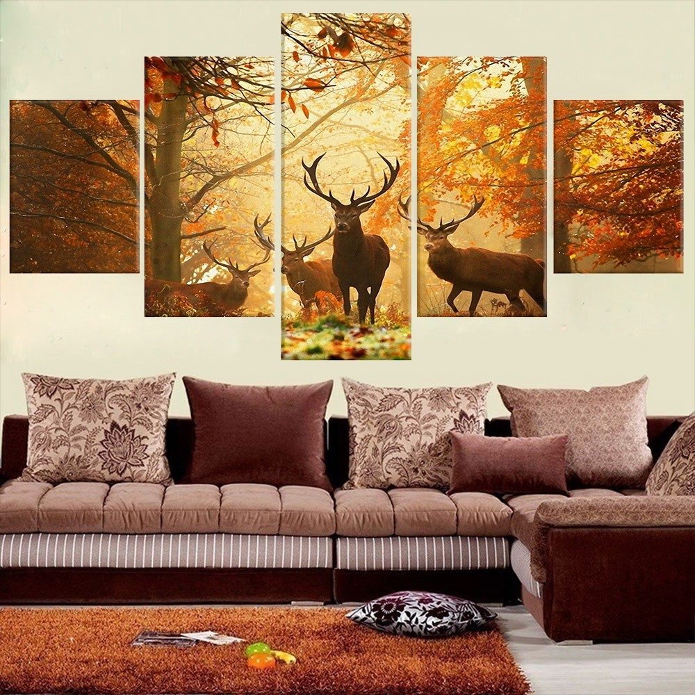 No Frame 5 PCS Wall Deer Painting Canvas Painting Modern Tree Obývací pokoj Ložnice pro zvířata Art Mural Home decor