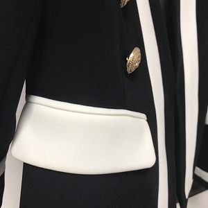 Image 4 - Женский классический блейзер с металлическими пуговицами, черно белый дизайнерский Блейзер, новая мода 2020