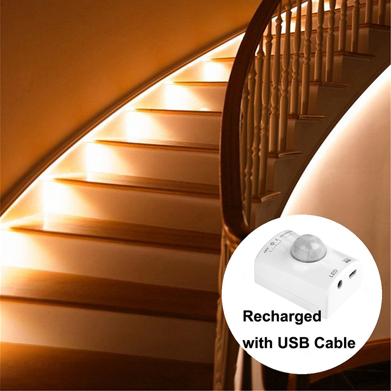 Led Motion Sensor Light Rechargeable Battery Automatic Shut Off Timer Lamp With Motion Sensor Warm White Children Nightlight newest led night light led lamp with infrared motion sensor nightlight for kids bedroom closet cool white warm white color