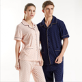 2016 Summer Brand Homewear Couples Casual Pajamas sets Men Cotton Turnd-down collar Sleepwear suit Male polka dot shirts + pants