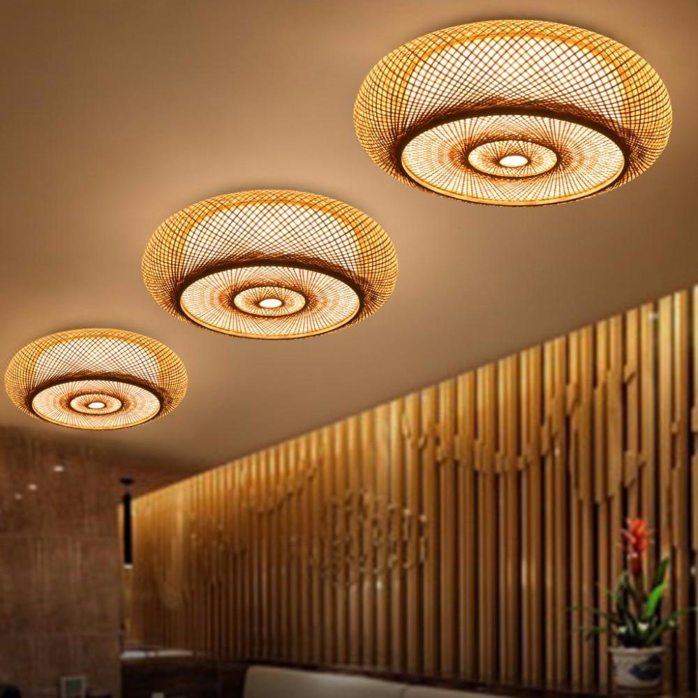 Hand woven Bamboo Wicker Rattan Round Lantern Shade Ceiling Light Fixture Rustic Asian Japanese Plafon Lamp Bedroom Living Room in Pendant Lights from Lights Lighting