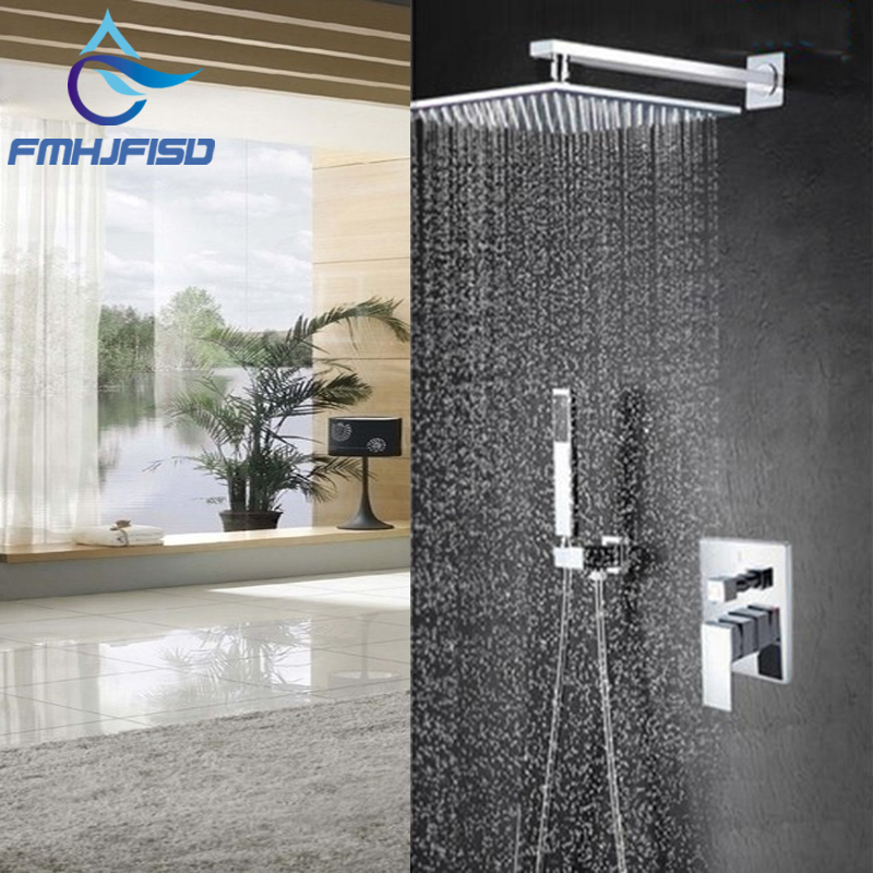Modern Square Chrome Rain Shower Head Faucet W Hand Shower Sprayer Mixer