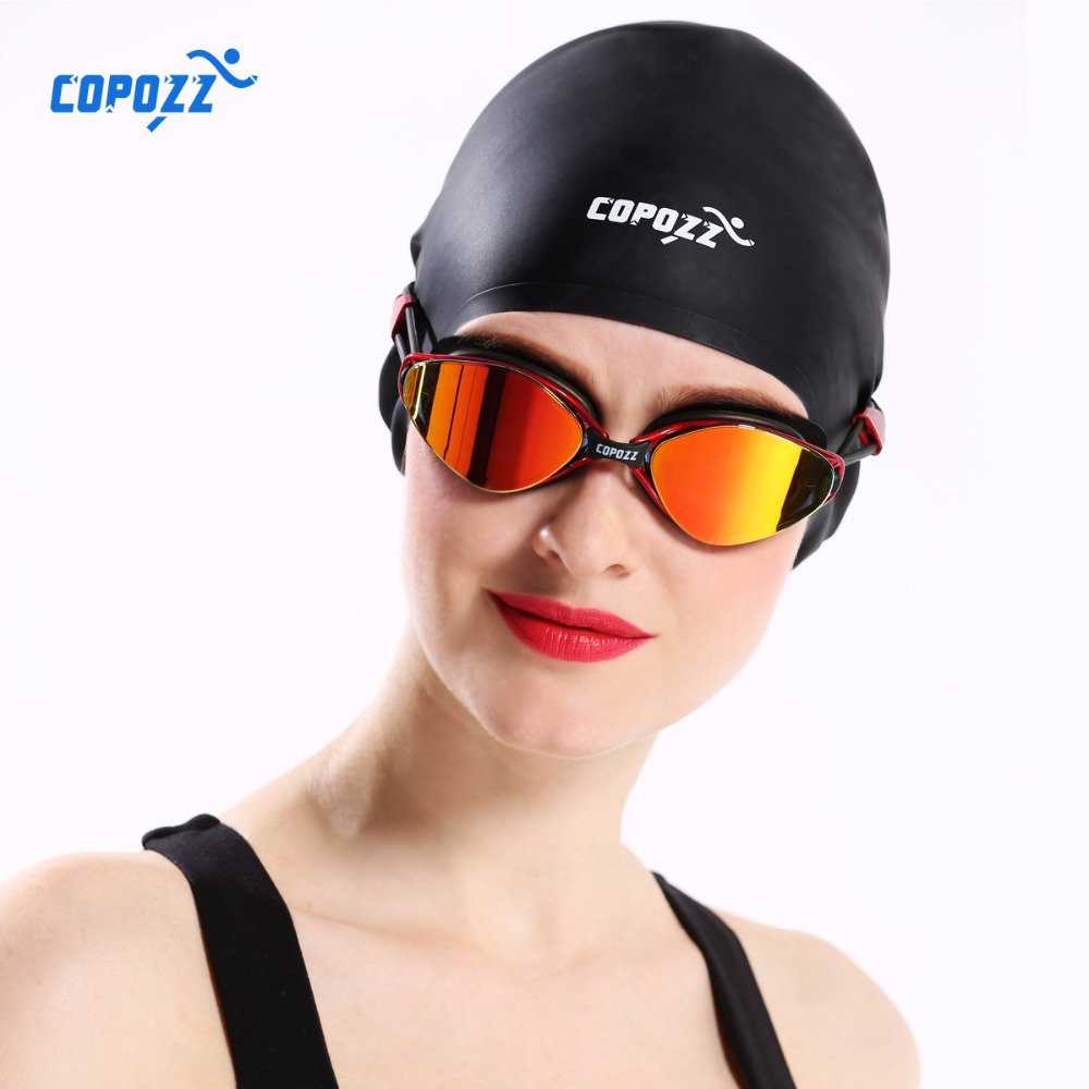 New COPOZZ Flexible Silicone Waterproof Swimming Cap Swimwear/hat Cover Ear Swim for Men women Unisex Adult long short hair