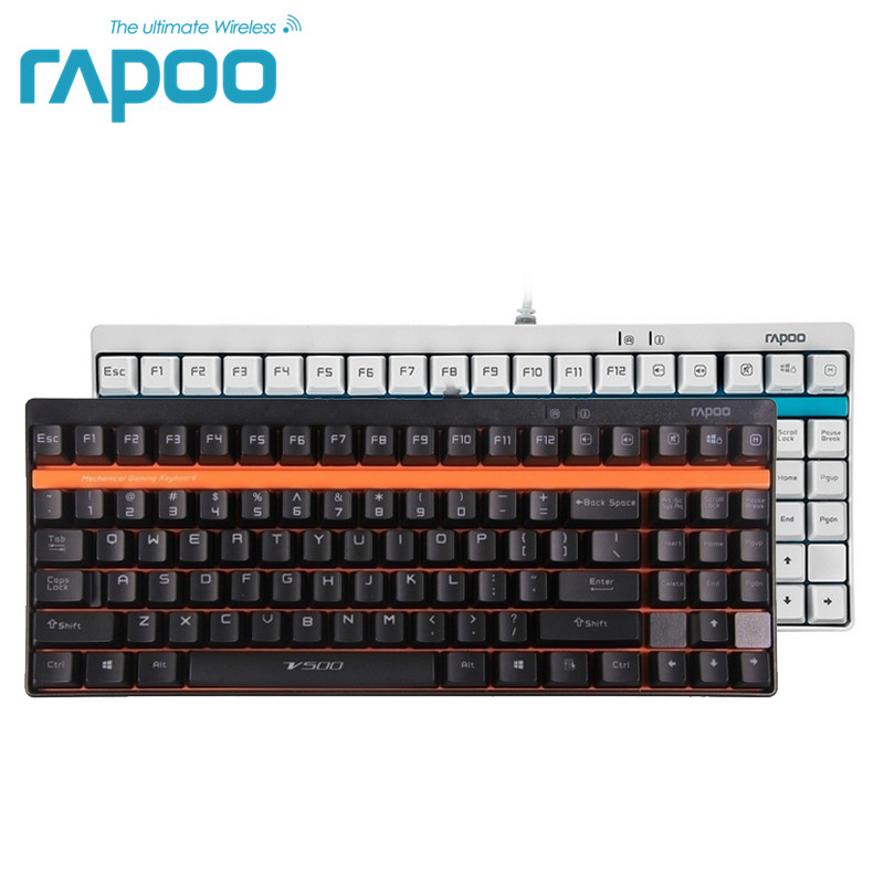 Original Rapoo V500 USB Wired Mechanical Gaming Keyboards 87 keys Desktop keyboards with BLACK/BLUE/BROWN Switches rapoo черный v500 сплава матовой версия ключа 87