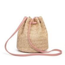 Summer Straw Bucket Bag Weave Purse Handbag Fringe Bohemian Bag Pouch pink transparent bucket bag and pouch bag
