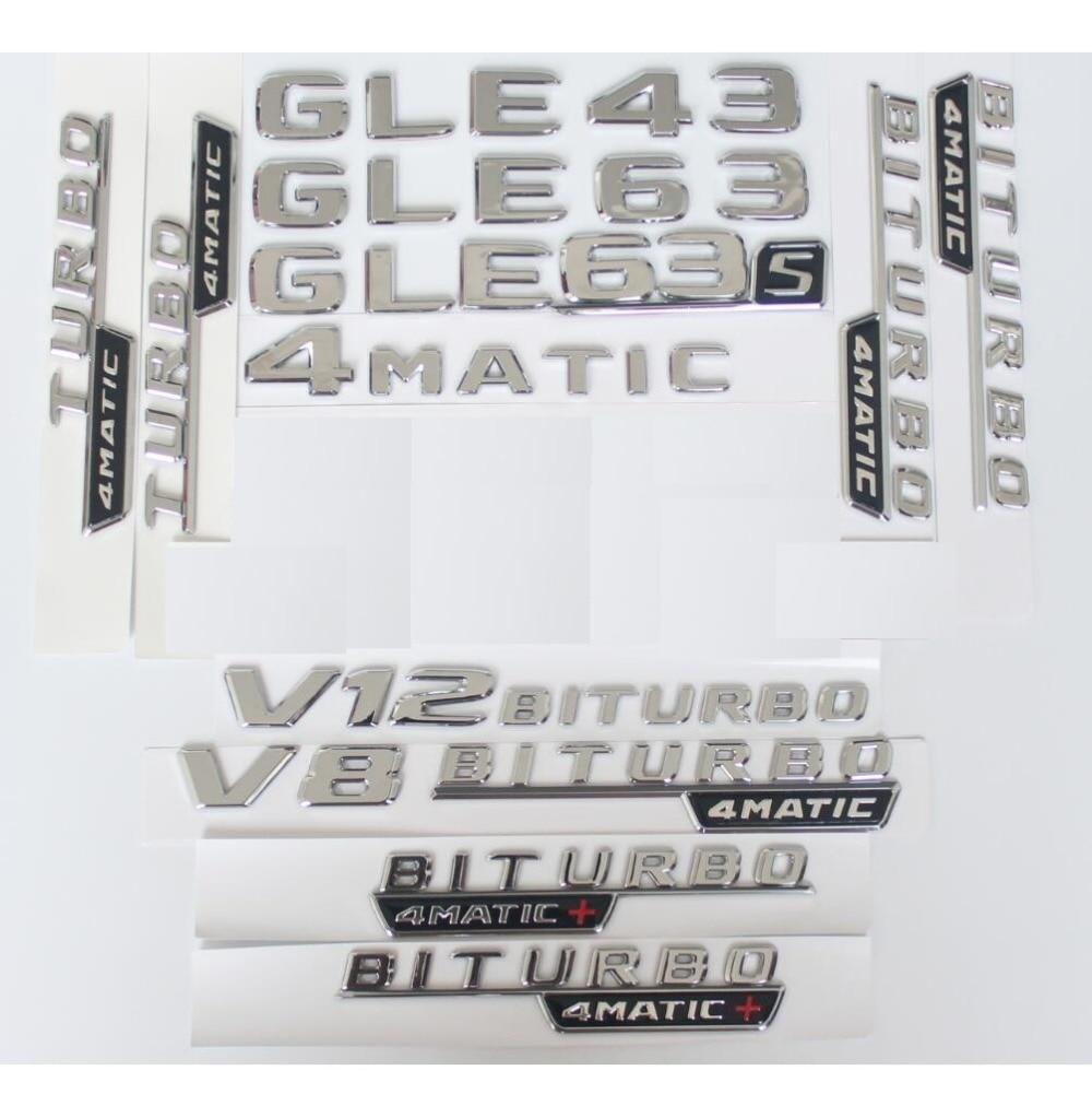 Chrome Stamm Buchstaben Abzeichen Emblem Embleme Aufkleber für Mercedes Benz GLE43 GLE63 GLE63s V8 V12 BITURBO 4 MATIC AMG