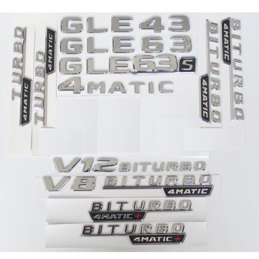 Chrome Tronc Lettres Badge Emblème Emblèmes Autocollant pour Mercedes Benz GLE43 GLE63 GLE63s V8 V12 BITURBO 4 MATIC AMG