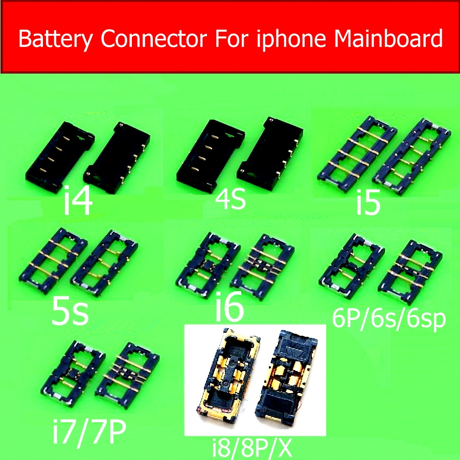 New Battery Connector Socket For Iphone 4 4s 5 5s 6 7 8 Plus Mobilephone Inner Connector Panel For Iphone X Battery Holder Clip