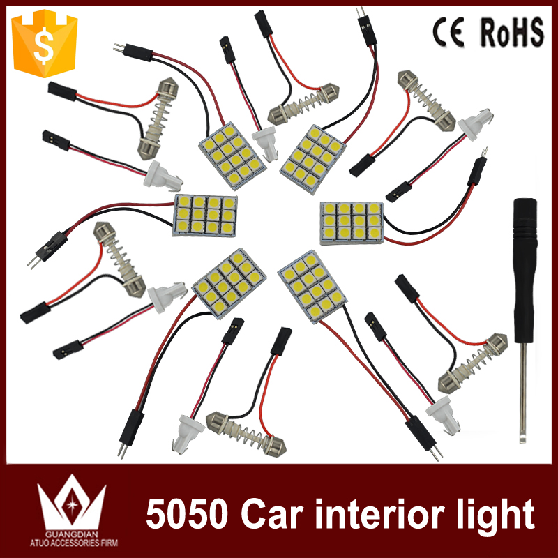 Tcart 6pcs/lot 12V Car LED Vehicle Interior Map Dome Door Lights Kit Package Reading Lights set For kia ceed