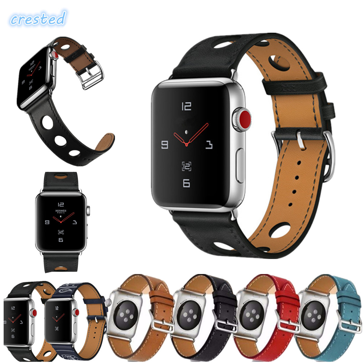 CRESTED Genuine leather watch strap for apple watch band 42mm 38mm bracelet watchband for iwatch 3/2/1 replacement watchstrap 6 colors luxury genuine leather watchband for apple watch sport iwatch 38mm 42mm watch wrist strap bracelect replacement