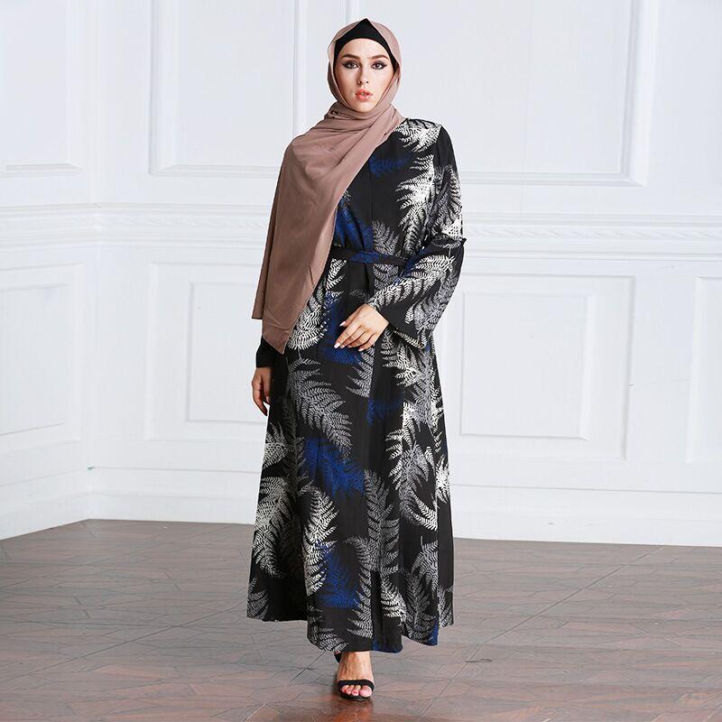 aff94f1636 Good New Fashion Printed Flowers Plus Size Muslim Female Abaya O-neck  Zipper Long Sleeve Dress Islam Traditional Women Clothing Belt offers where  can We ...