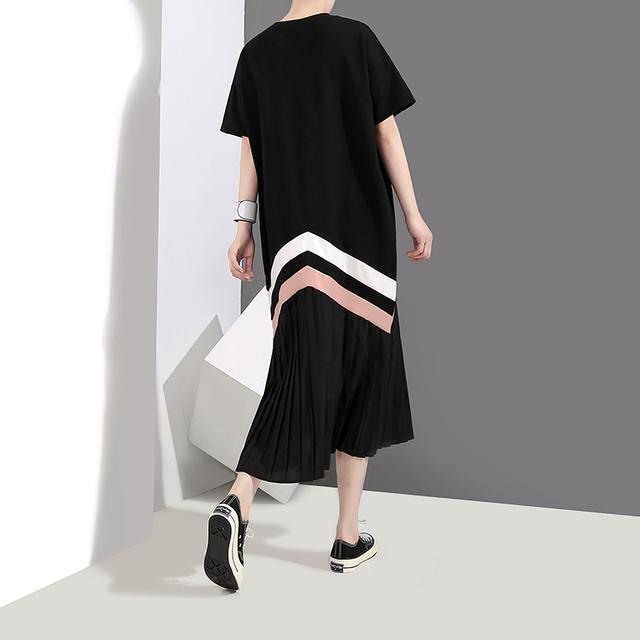 2018 Vestido Style Summer Women Black Pleated Dress Short Sleeve Striped Female Wear T shirt Dress