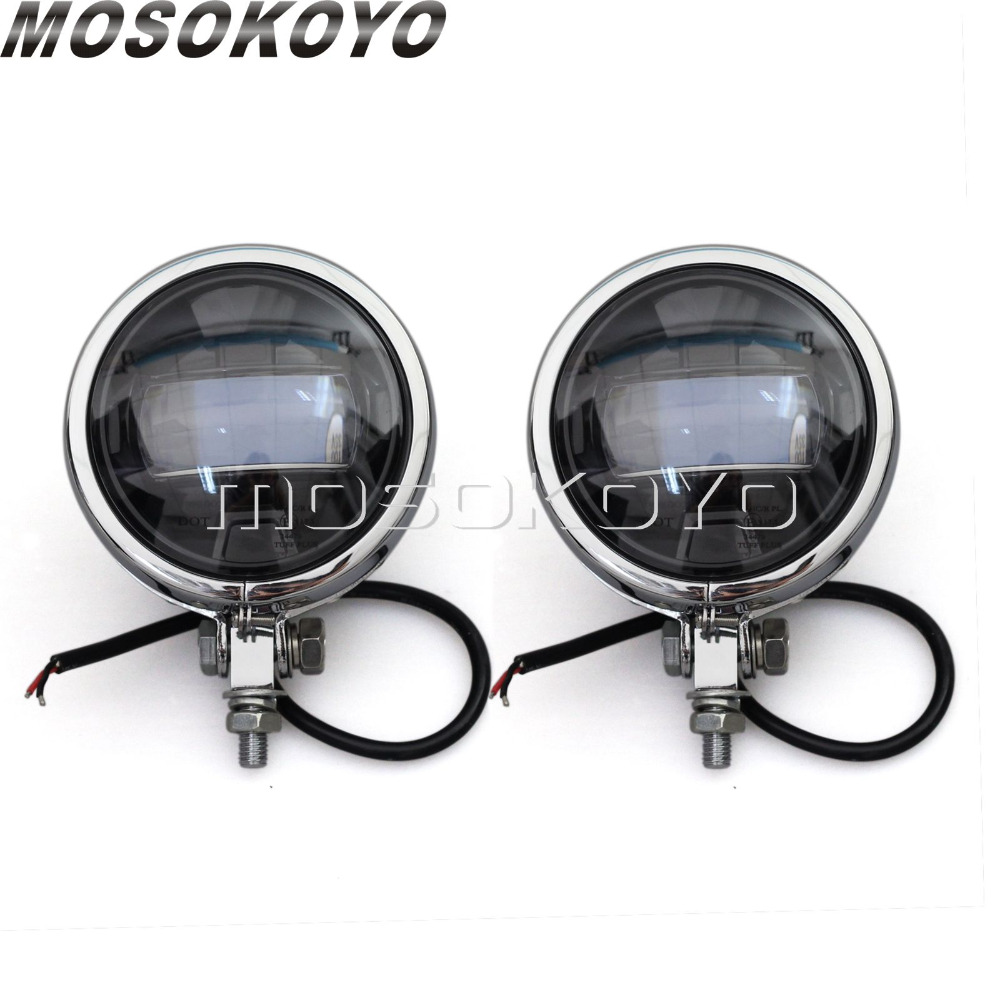 E Mark LED 2X Motorcycle Chrome Spotlight Cafe Racer Fog Light Spot Beam for Harley Sportster Touring Road King Softail - 3