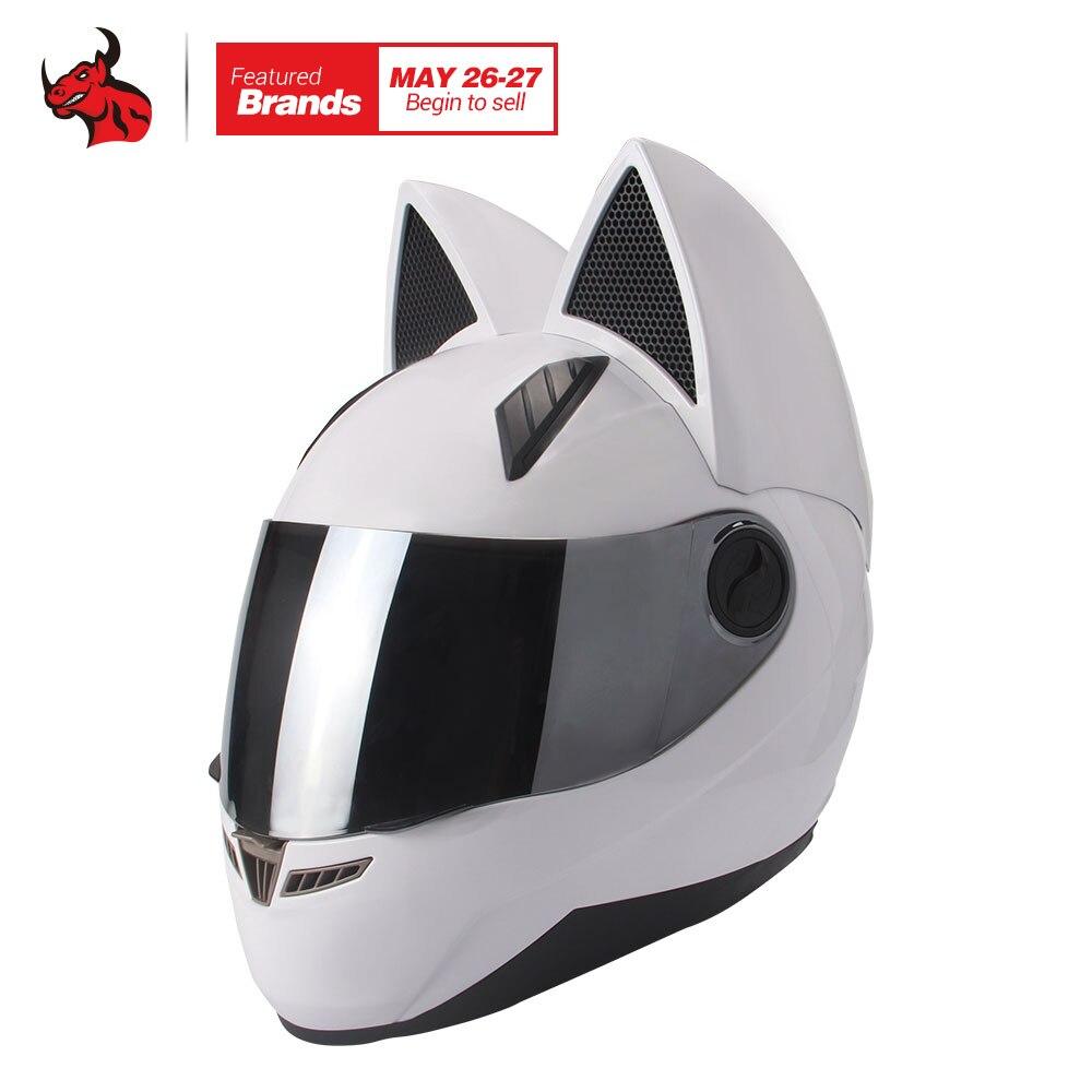 NITRINOS мотоциклетный шлем Для мужчин Для женщин Личность кошка шлем Capacete де Moto белый анфас Гонки шлемы M/L/ XL/XXL
