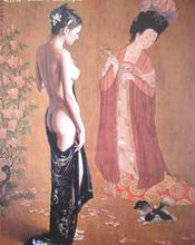 wholesale oil painting # good quality NUDE NUE ART # large # CHINA classical woman with dog ART PRINT CANVAS painting- 36″