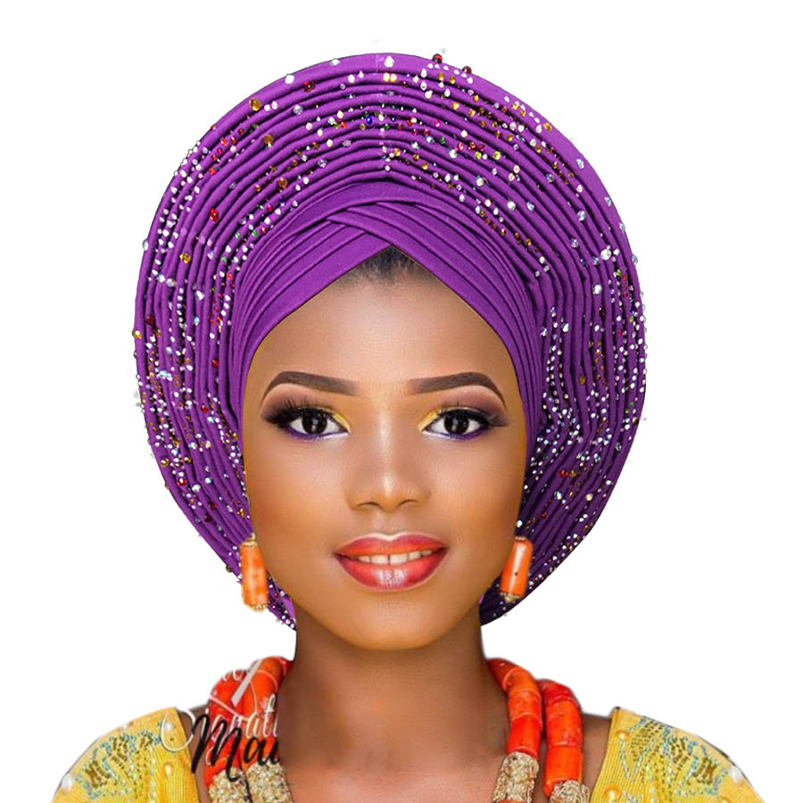 2018 New Arrival aso oke gele with beads african turban for women