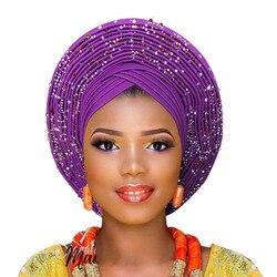2018 Nieuwe Collectie aso oke gele met kralen afrikaanse tulband voor vrouwen
