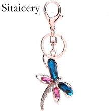 Sitaicery Dragonfly Rhinestone Keychain For Keys Bag Womans Accesories Pendant Luxury Keyrings Trinket Christmas Gift